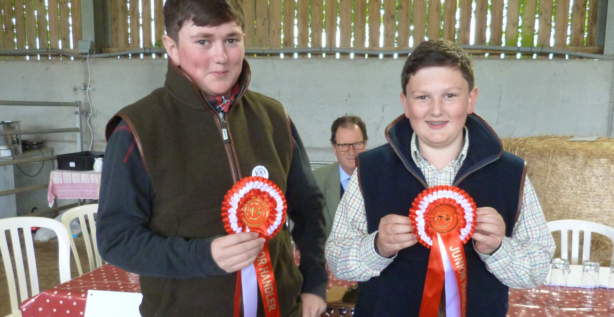 Harry and James Pennington collect their Junior Handler awards