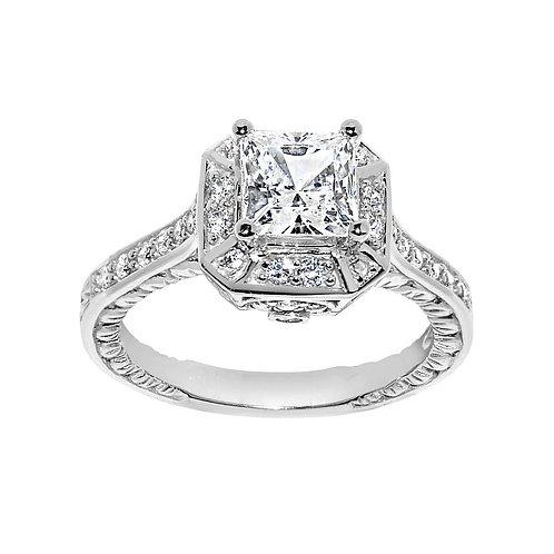 14k White Gold 1 3/4ct TGW Princess-cut Diamonette Engagement Ring