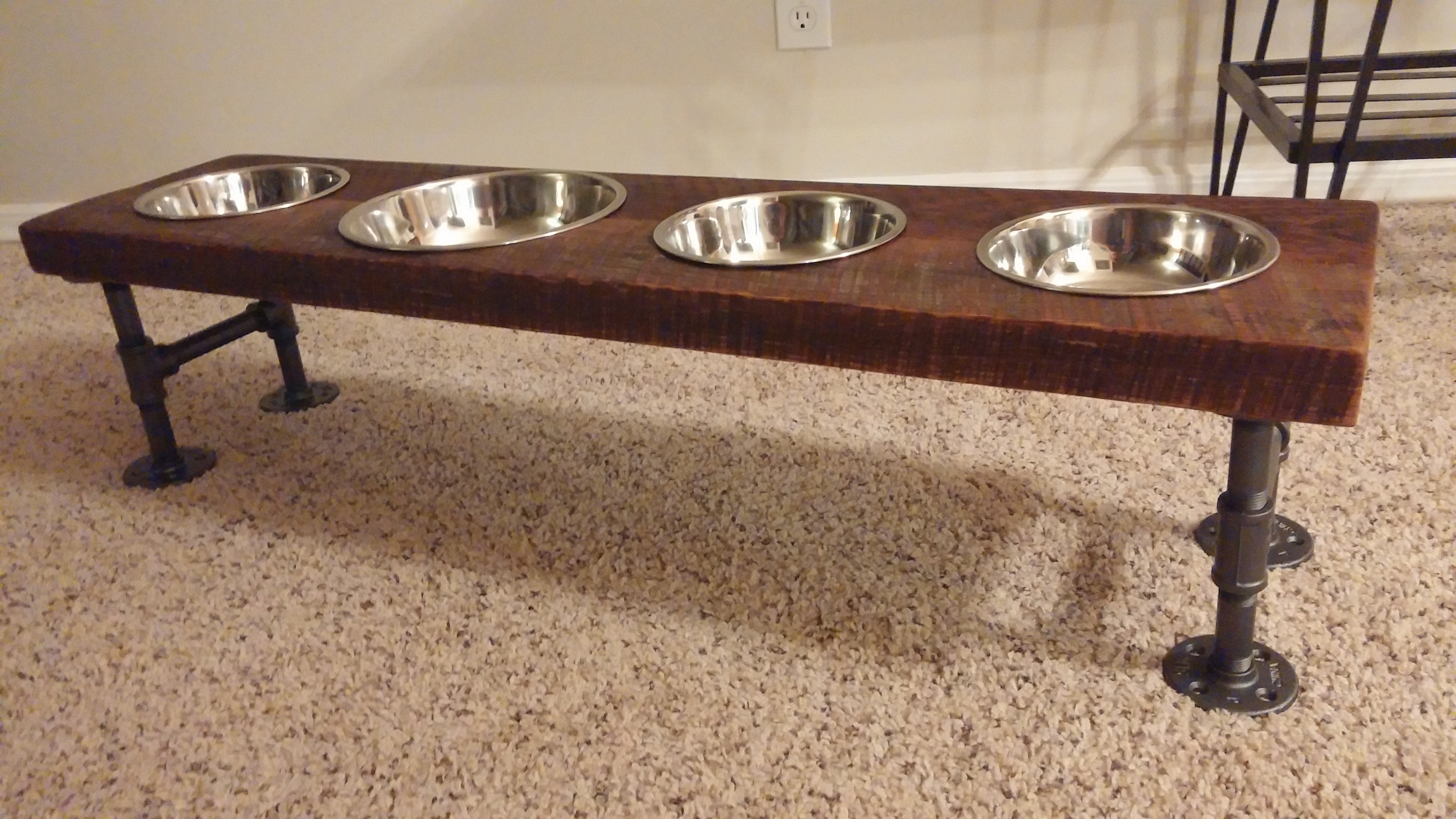 Mohican Woodworking Custom Furniture  Industrial Reclaimed Dog Bowl Stand