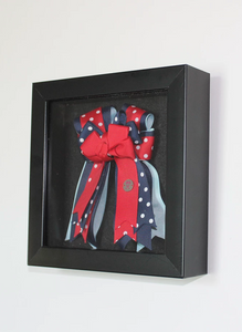 PonyTail Bows, horse show bows in a shadow box, equestrian decor with Equestrian Sport Life Blog
