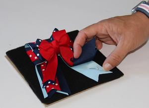 Putting my blue and red ponytail bows in a shadow bow with pins for Equestrian Sport Life