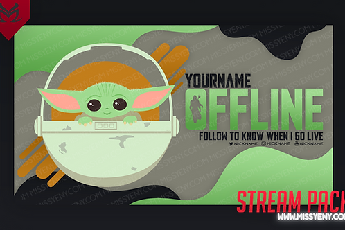 BABY YODA STAR WARS | TWITCH BANNER, PANELS AND OFFLINE SCREEN