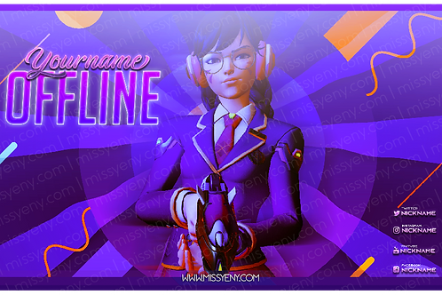 STREAM PACK | OFFLINE SCREEN + TWITCH BANNER OVERWATCH DVA