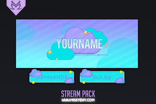 STREAM PACK  AESTHETIC CLOUDS | OVERLAY, SCREENS, TWITCH BANNER AND PANELS
