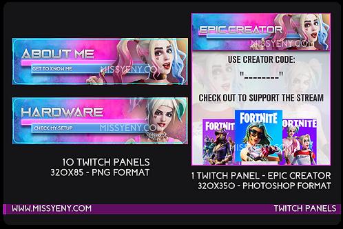 Twitch Mixer Panels | Harley Quinn x Fortnite