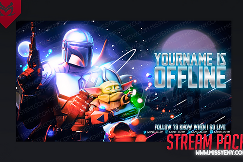 THE MANDALORIAN AND BABY YODA STAR WARS   TWITCH BANNER AND OFFLINE SCREEN
