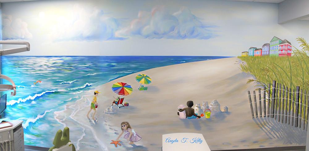 Beach Scene Mural in Sunshine Children's Dentistry