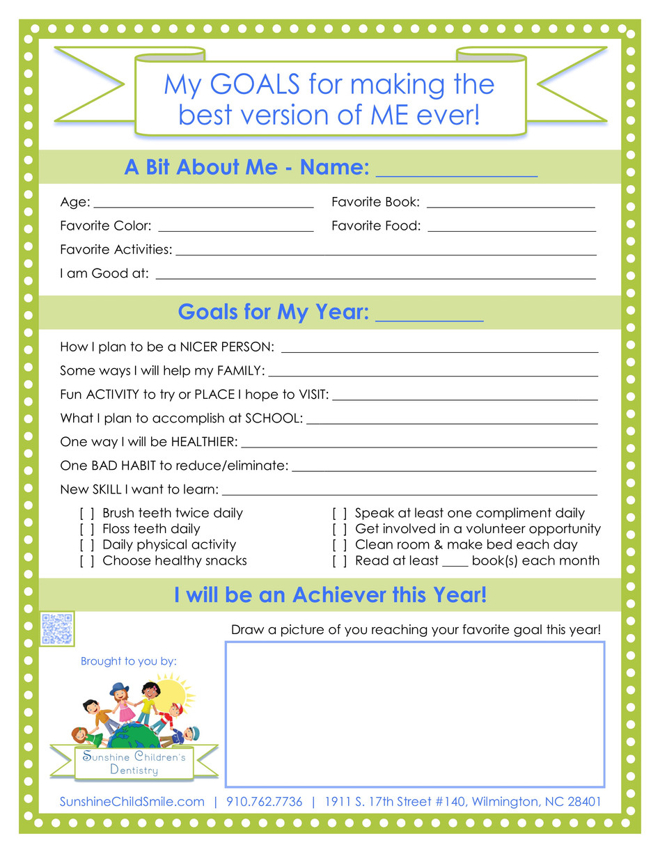 🌞FREE Goals Printable for Kids + Professional Spotlight on Dr. Douglas Fry, DDS