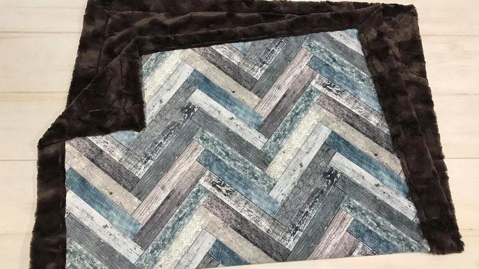 Pre-Order ~ Vintage Wood Chevron | Blue