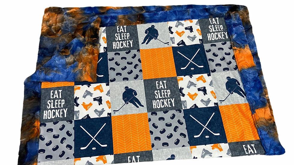 Eat Sleep Hockey | Tangerine Navy