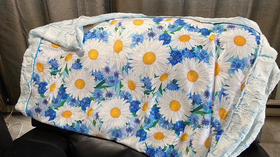 White daisies on blue