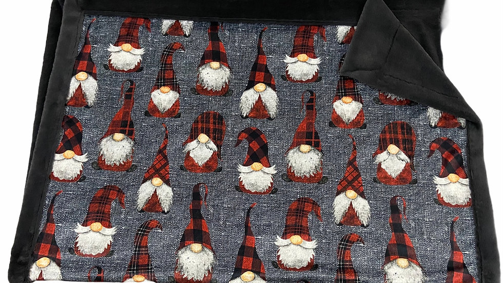 Pre-Order ~ Gnomes | Red Buffalo Plaid on Grey Linen