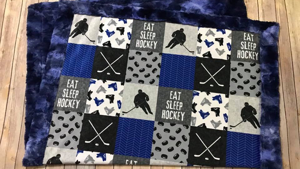 Eat Sleep Hockey | Royal Blue Grey
