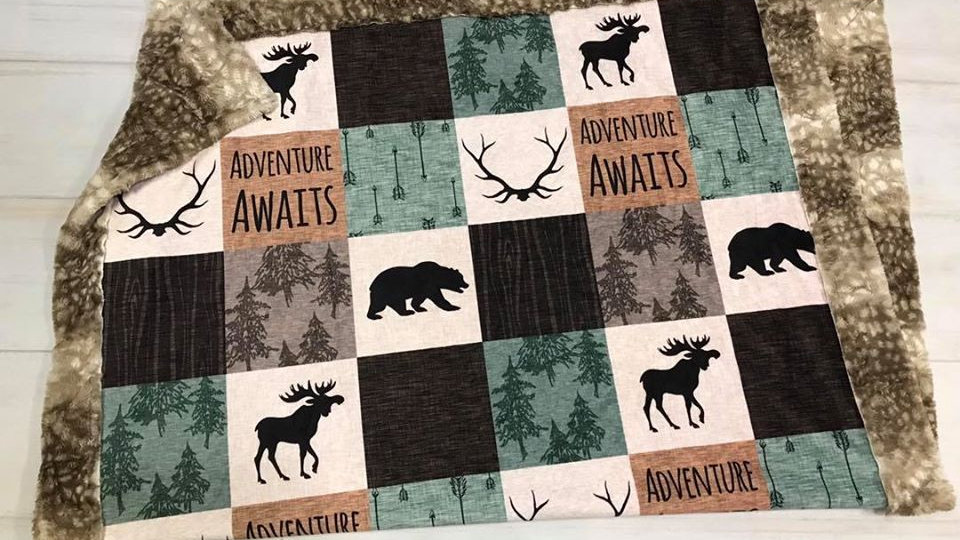 Adventure Awaits | Green Brown | Moose Antlers Bears