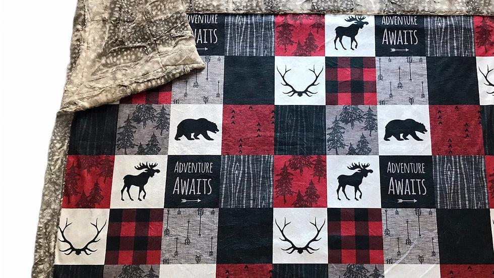 Adventure Awaits | Red Black Taupe Cream | Moose Antlers Bears