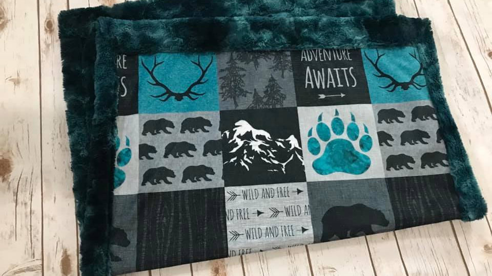 Adventure Awaits | Teal Grey Black | Antlers Bears