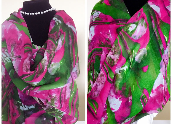 Fluent Pink and Green Modal Scarf