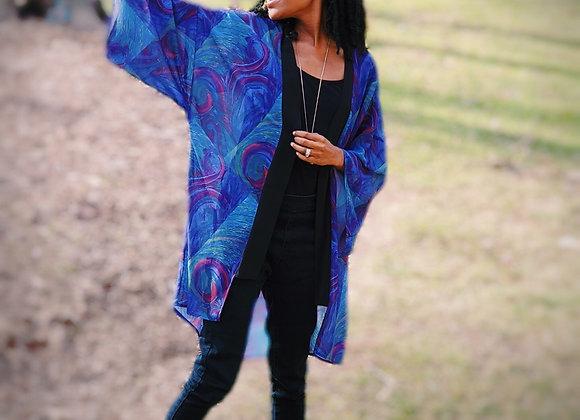 Swirls of Blue Lapel Kimono
