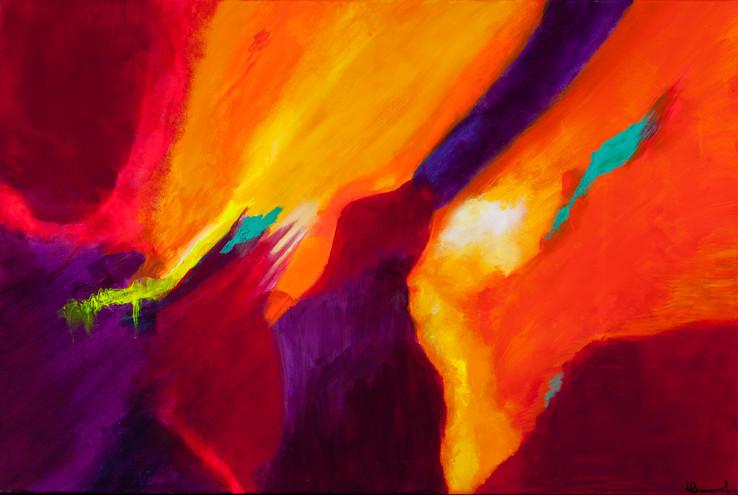 """Walking Between the Sun: Pathway to Heaven"" - 24x36 Acrylic"