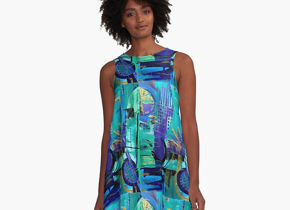"A Line dress ""Urban Plan"" design"