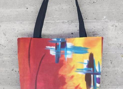 Flaming Plaid Tote Bag