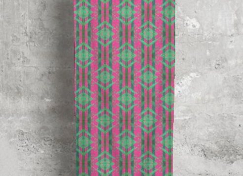 Pink and Green Motif Modal Scarf
