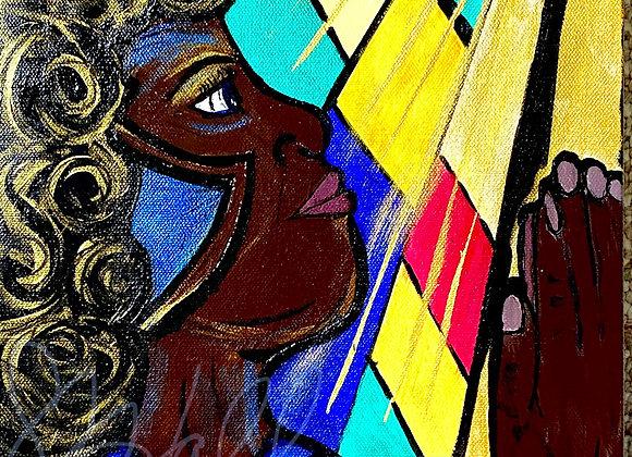 """SHE Prays 10"""" x  20"""" Acrylic on Canvas.Framed"""