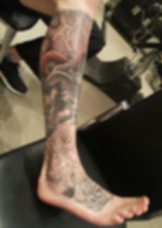 Tattooed leg piece at Tradesman Tattoo Company in Kelowna BC