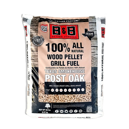 B&B Post Oak Wood Pellets 20lb/9kg