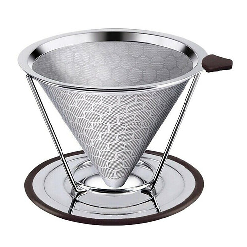 Paperless Stainless Steel Pour Over Coffee Filter w/ Removable Cup Stand