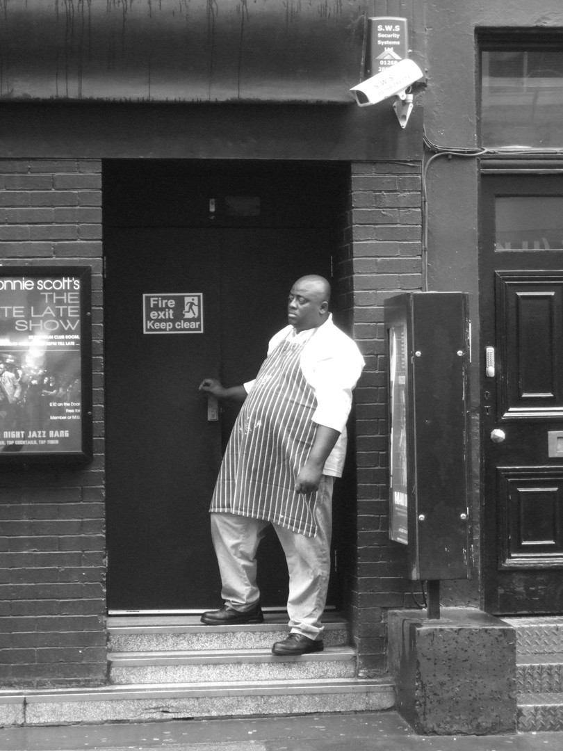 Chef outside Ronnie Scotts