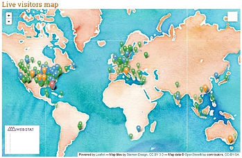 image of world map with many pushpins marking site visitors locations