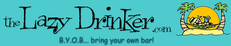 Banner image of the Lazy Drinker logo with graphic of man in hammock with a drink between two palm trees.