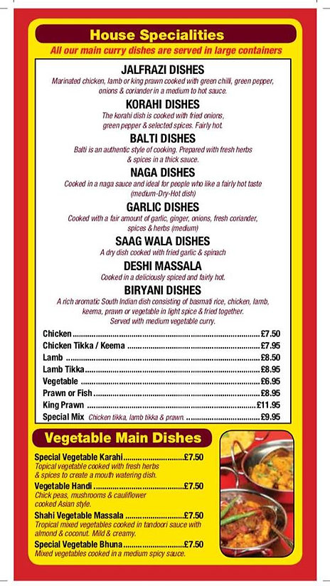 Shapla Indian Menu