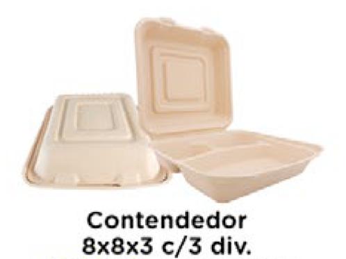 Contenedor 8x8x3 (pulgadas) c/3 divisiones