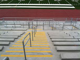 high school bleachers with guide rail