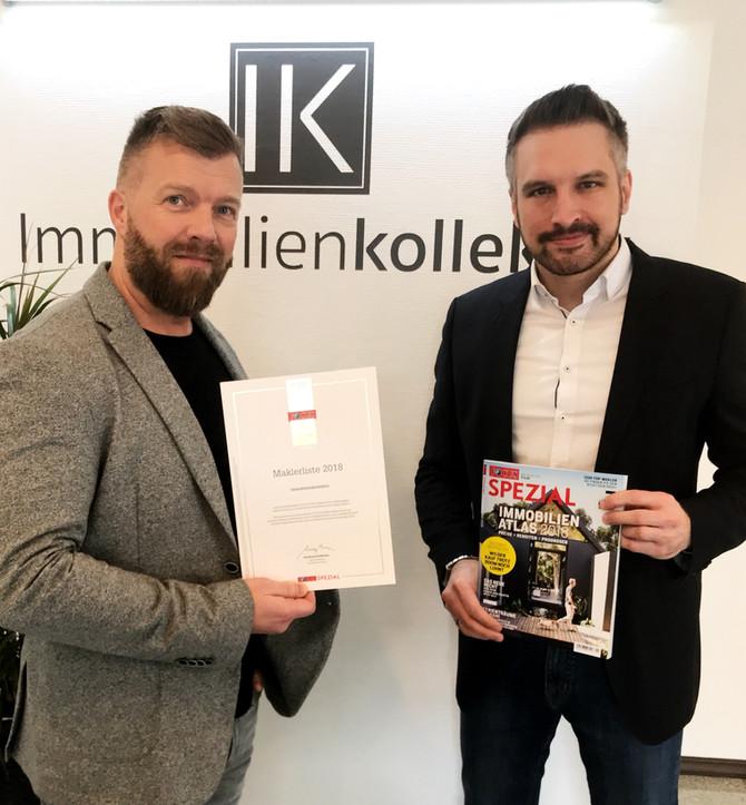 Auszeichnung vom Magazin FOCUS zum TOP Immobilienmakler 2018 !!!