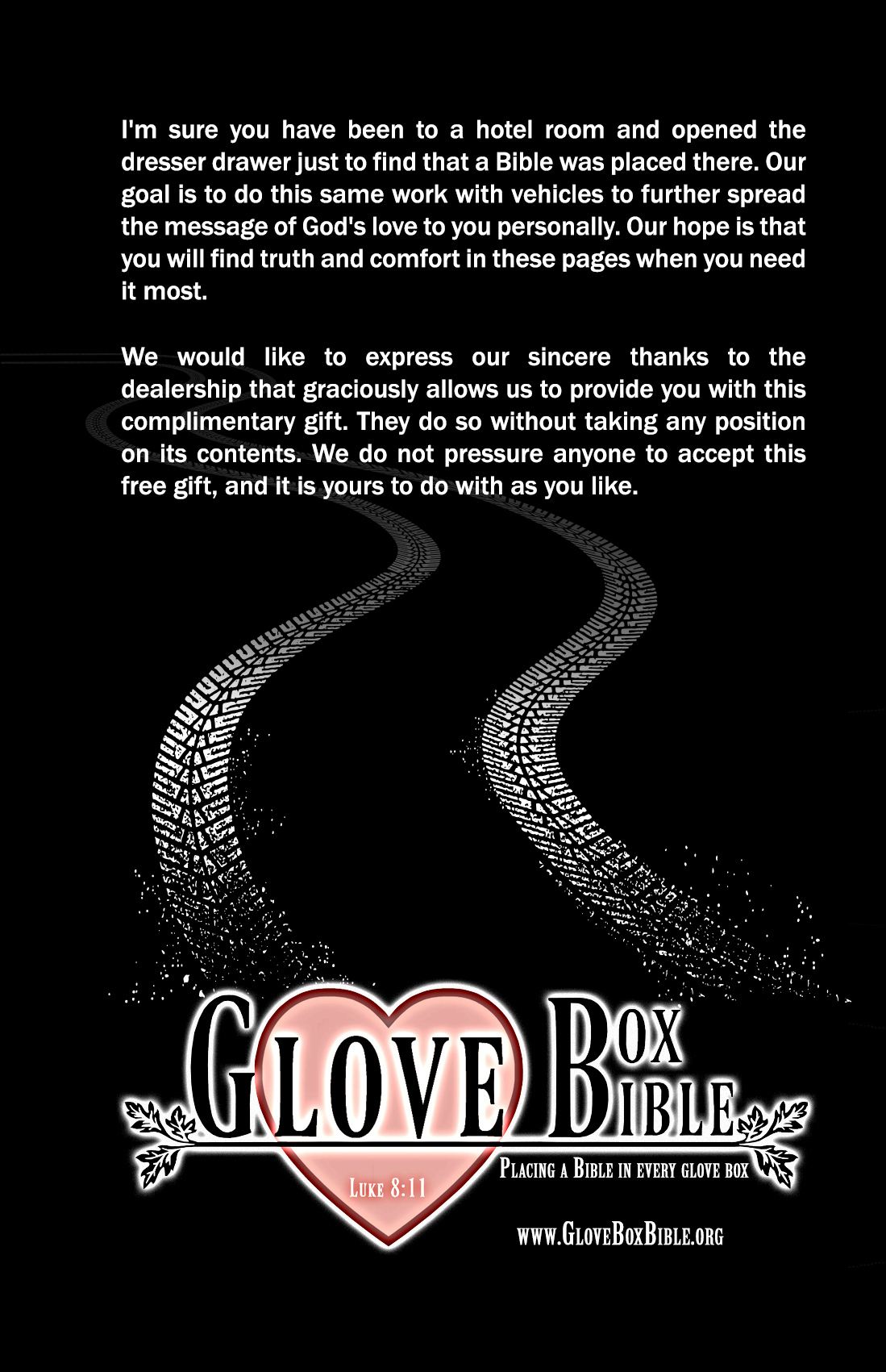Glove Box Bible Back Cover