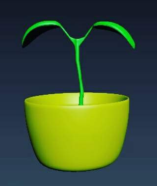 3ds Max model test: Plant pot with sapling