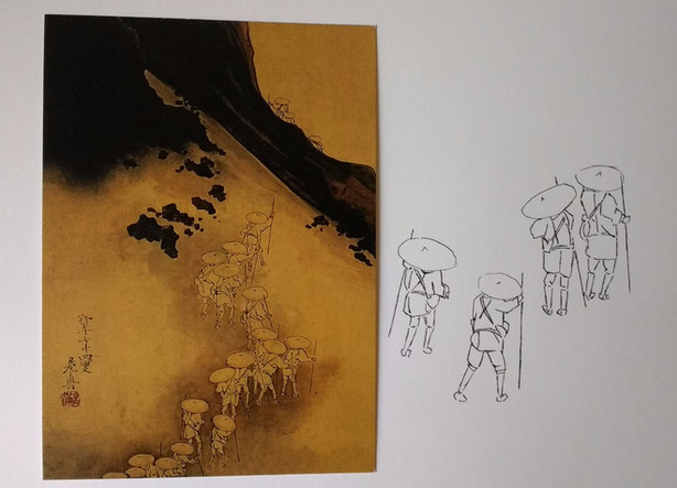 Study of characters in 'Pilgrims on the slopes of Mt. Fugi' by Shibata Zeshin