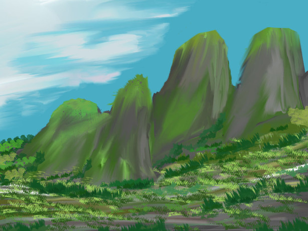 Another painted over 3D landscape