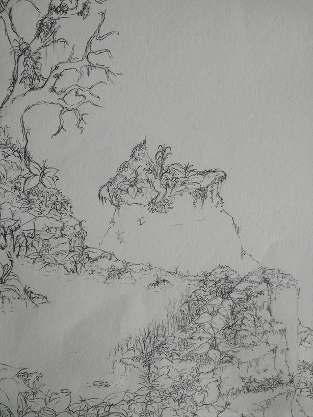 Detail from an unfinished jungle landscape (2013)