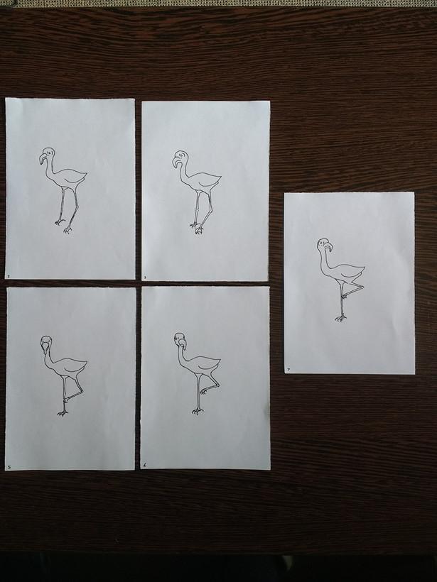 Quick flamingo movement animation