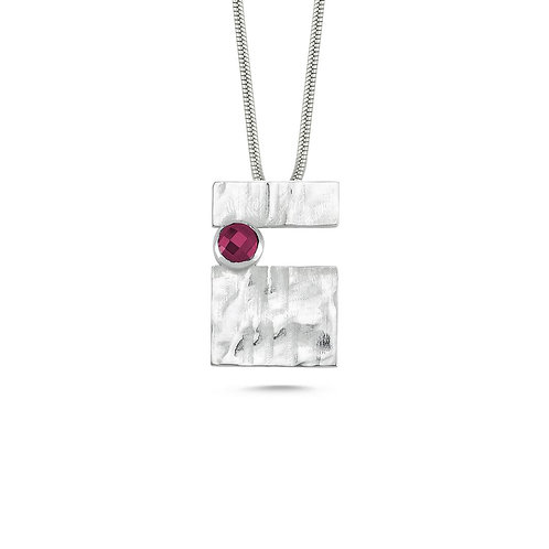 Rectangle Ruby Patch Necklace