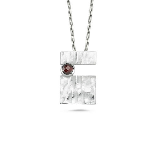 Rectangle Red Patch Necklace