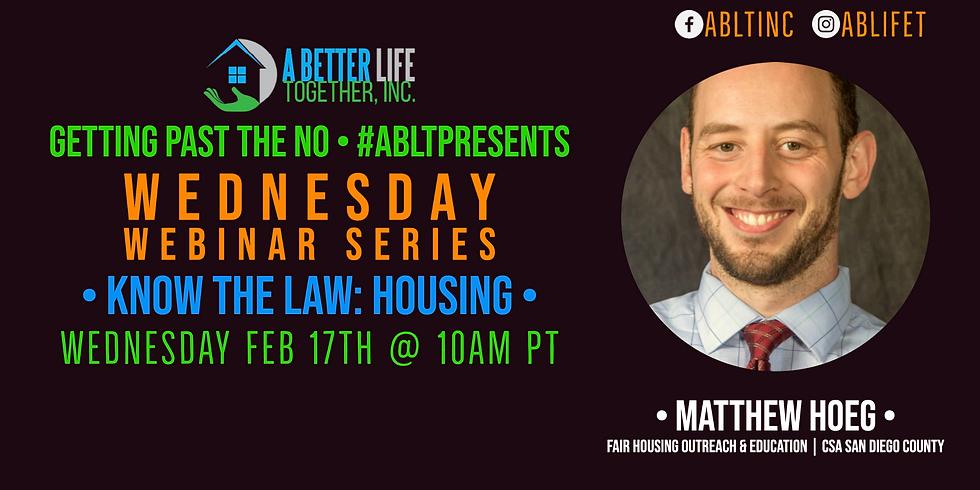 Serie de seminarios web del miércoles: Superando el no - Equidad de vivienda CSA San Diego