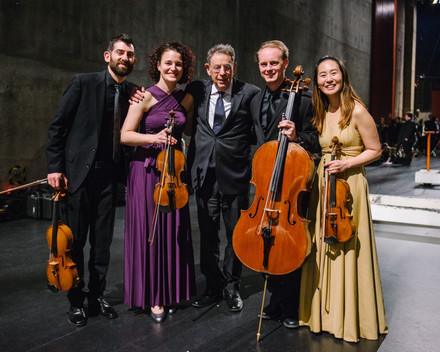 With Philip Glass after the World Premiere of his Piano Quintet at the Lied Center in Lincoln, NE. Photo by Walker Pickering