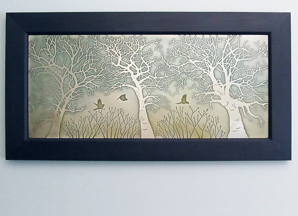 Misty Morning Etched Nickel Wall Art with Hardwood Traditional Frame (Large)
