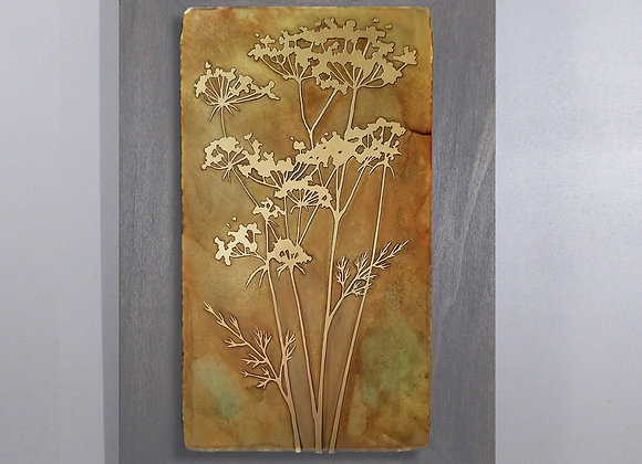 Queen Anne's Lace Etched Brass Wall Art with Hardwood Flat Frame