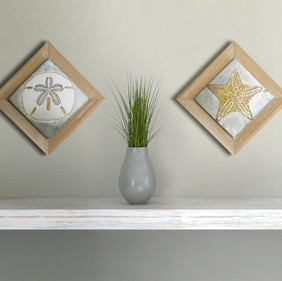 Sand Dollar and Starfish Etched Nickel Wall Art